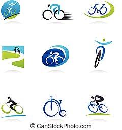 Cicling y bicicletas iconos