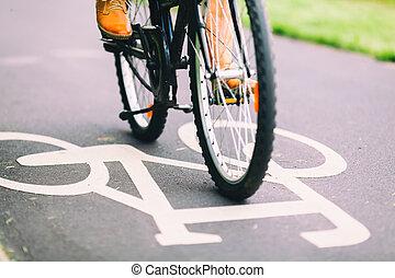 ciclismo, bicicleta, el conmutar, gente