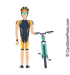Ciclista en espera de la ilustración del vector de bicicleta