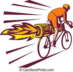 ciclista, motor, estilo, bicicleta, woodcut, chorro, aislado, blanco, carreras