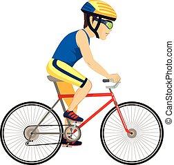 ciclista, profesional, hombre