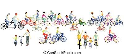 ciclistas, equitación, illustration.eps, grupo, bicicleta