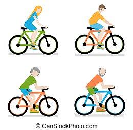 Ciclistas montando en bicicleta