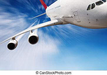 cielo, avión, chorro