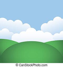 cielo azul, colinas