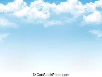 Cielo azul con nubes. Antecedentes de vector