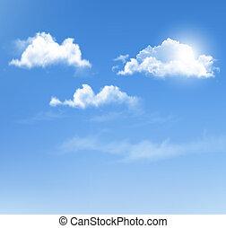 Cielo azul con nubes. Antecedentes de vector.