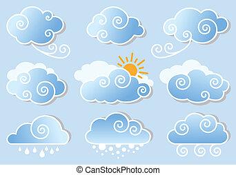 Cielo azul con nubes, vector