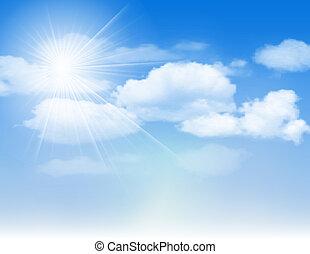 Cielo azul con nubes y sol.