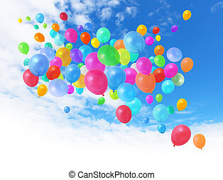 cielo azul, globos, colorido
