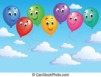 cielo azul, inflable, 2, globos