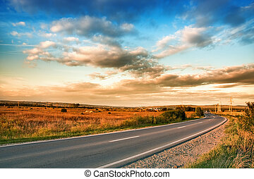 cielo azul, nubes, camino, rural
