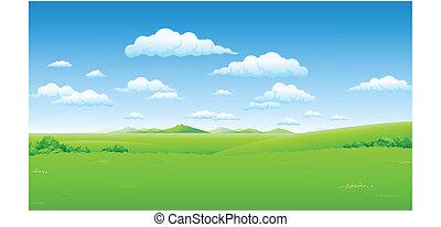 cielo azul, paisaje verde