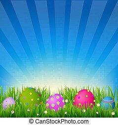 cielo azul, pasto o césped, pascua, tarjeta