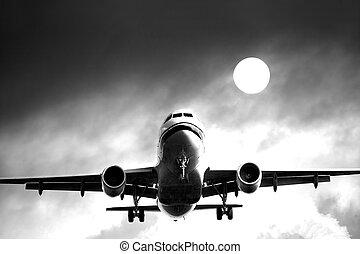 cielo, chorro, airliner, contra, nublado