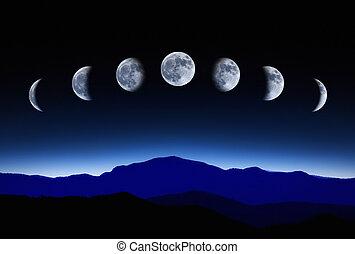 cielo de la noche, ciclo lunar, luna
