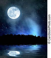 cielo de la noche, estrellas, luna