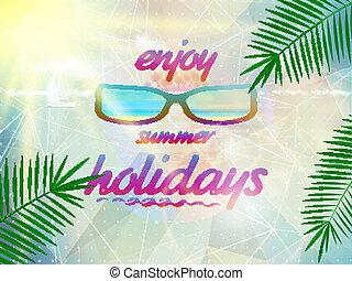 Cielo de verano con sol con gafas de sol.