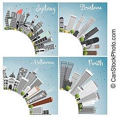 cielo, edificios, ciudad, sydney, space., cities., melbourne, contorno, copia, azul, gris, australiano, brisbane, perth