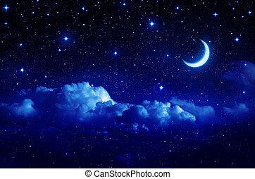 Cielo estrellado con media luna