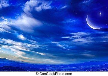 cielo, luna, cloudscape, escénico, estrellado, mitad