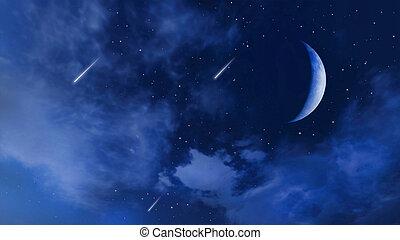 cielo, media luna, estrellas, caer, nublado, noche, 3d