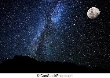 cielo, noche, manera, estrellas, lechoso, galaxia