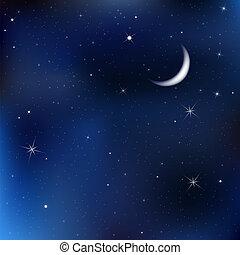 Cielo nocturno con luna y estrellas