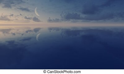 Cielo nocturno con media luna sobre la superficie del espejo