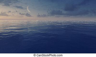Cielo nocturno con media luna sobre océano tranquilo