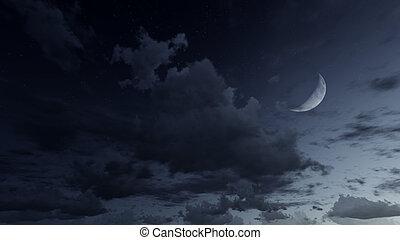 Cielo nocturno estrellado con media luna