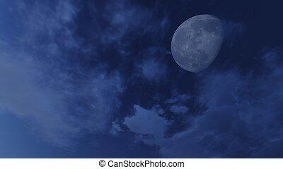 Cielo nocturno nublado con media luna