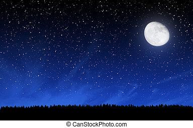 Cielo nocturno profundo con muchas estrellas y bosque