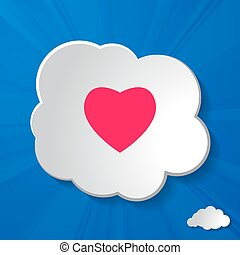 cielo, papel, plano de fondo, corazón, rayos, nubes, resumen, sol, blanco, azul, rosa