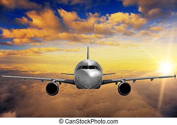 cielo, puesta de sol de avión