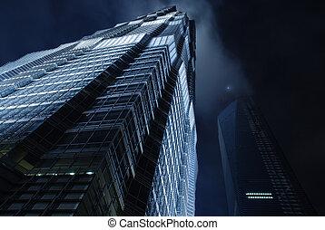 cielo, rascacielos, noche