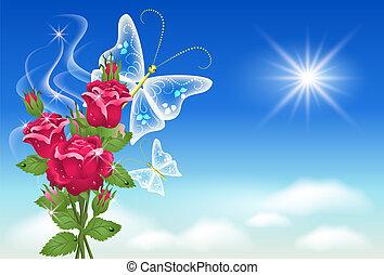 Cielo, rosas y mariposa.