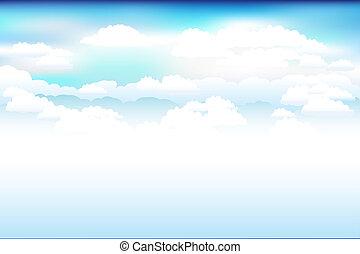 cielo, vector, nubes, azul