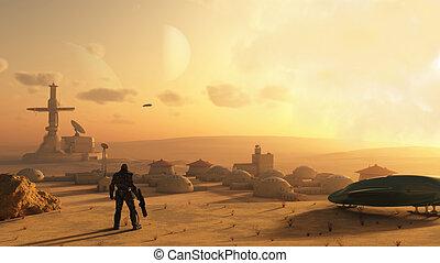 ciencia ficción, desierto, aldea