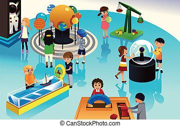 ciencia, niños, centro, viaje