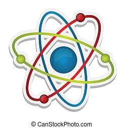 ciencia, resumen, icono, átomo