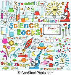 ciencia, vector, ilustración, doodles