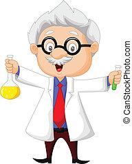 Científico de dibujos animados con químicos