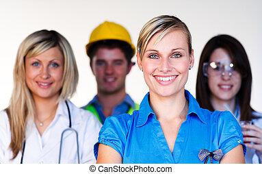 científico, doctor, multi-profession, -, ingeniero, mujer de negocios, sonriente, cámara