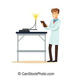 Científico en laboratorio moderno realizando experimentos con bombilla