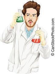 científico, liquid., experimentar, vector