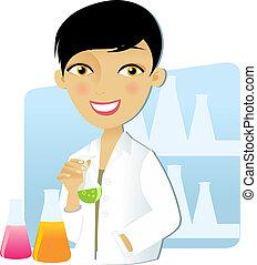 científico, mujer