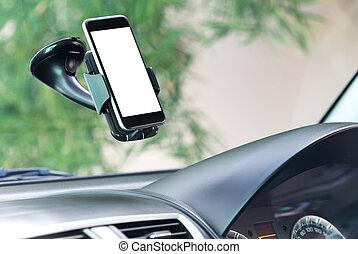 Cierra el teléfono montado en el coche