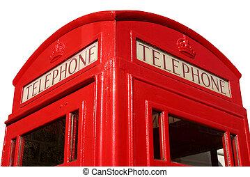 Cierra una vieja cabina telefónica roja inglesa