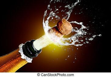 cierre, champaña, arriba, el hacer estallar, corcho